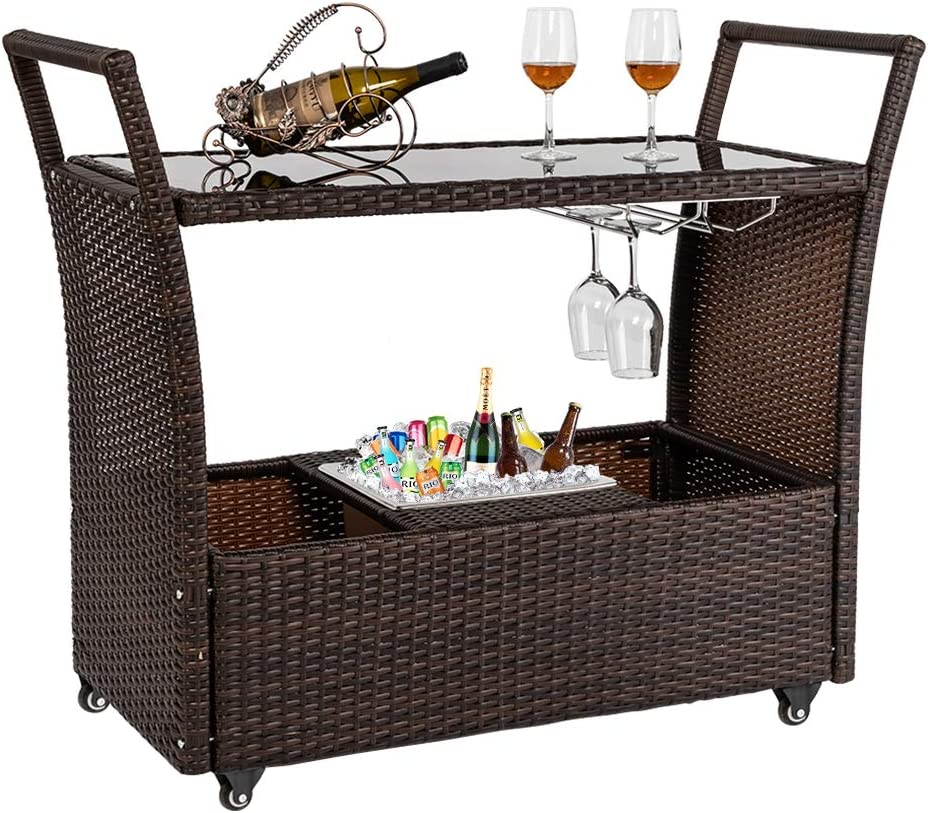 Amazon Com Bonnlo Outdoor Wicker Bar Cart With Wheels And Ice Bucket Rolling Patio Wine Cart Rattan Bar Serving Cart With Glass Top And Wine Glass Holder For Pool Party Backyard Porch