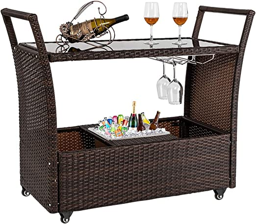 Image result for wicker bar cart