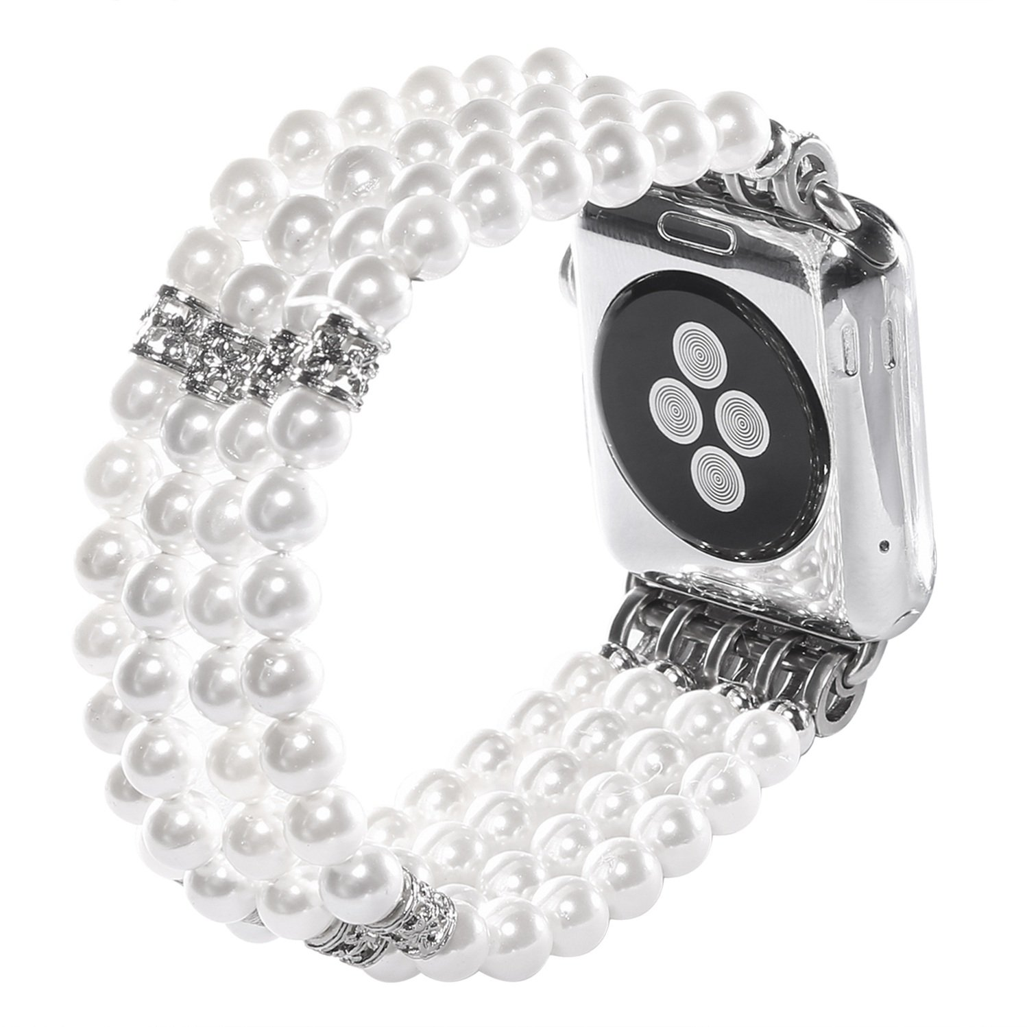 Juzzhou Band For Apple Watch iWatch Series 1/2/3 Replacement Bracelet Handmade Beaded Faux Pearl Natural Bling Stone Crystal Agate Jewels Elastic Stretch Wrist Strap Wristband Wriststrap White 38mm by Juzzhou (Image #3)