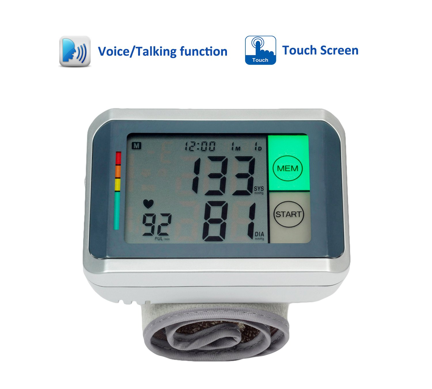 ObboMed MM-4770 Touch Screen and Voice Function, Automatic Wrist Cuff Digital Blood Pressure Monitor with Irregular Pulse and Heartbeat Detector, WHO Classification Indicator -Extra Large LCD Display