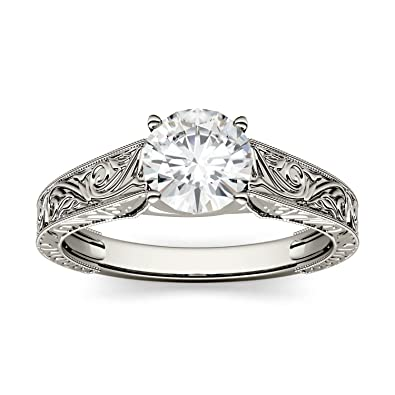 bbf81a4e9f0816 Forever One Round 6.5mm Moissanite Solitaire Engagement Ring-size 8, 1.00ct  DEW