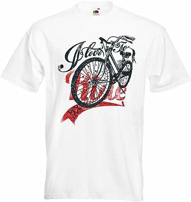 T-Shirt Camiseta Remera Me Encanta Montar Amo MI Bici Ciclismo Mountain Riders Camino de la
