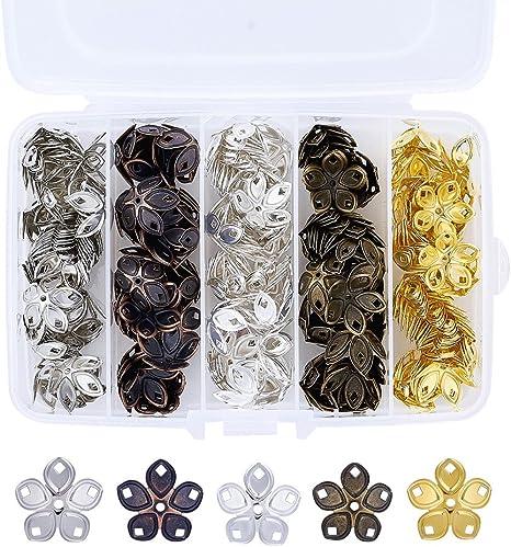 Pandahall 5-Petal Iron Filigree Flower Bead Caps 18x8mm Jewelry Making End Caps About 200pcs//box