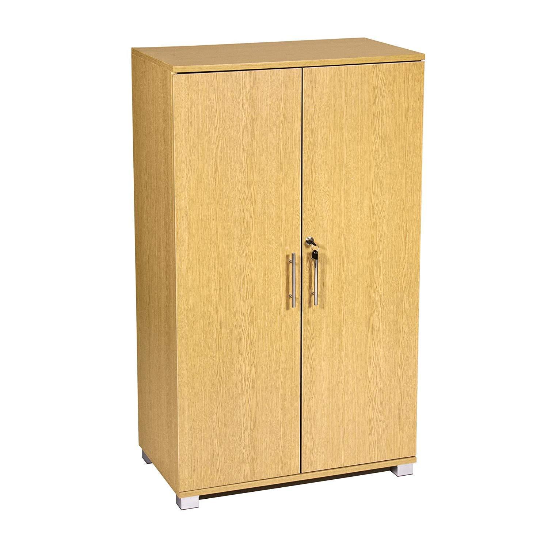 Office Storage Oak Cupboard Filing Cabinet - Lockable, Office Furniture, 3 Storage Shelves - 2 Door Cabinet - 700mm Wide - Massive Storage Capacity - MMT Furniture Designs SD-IV03 Cabinet oak