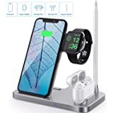 Wireless Charger Station, Saferell 4 in 1 Qi-Certified Fast 10W Charging Dock Stand for Apple Watch & AirPods & Pencil,iPhone 11/XR/8Plus/SE, Nightstand Mode for iWatch, Compatible Samsung Galaxy