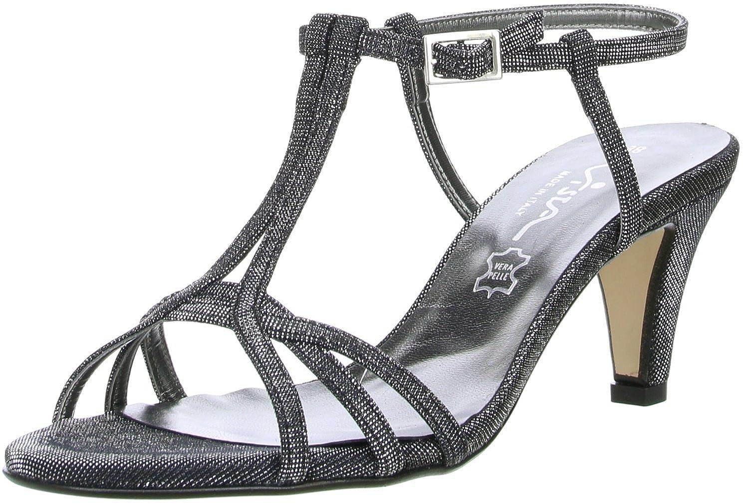 Vista Damen Glitzer Sandaletten schwarzsilber: