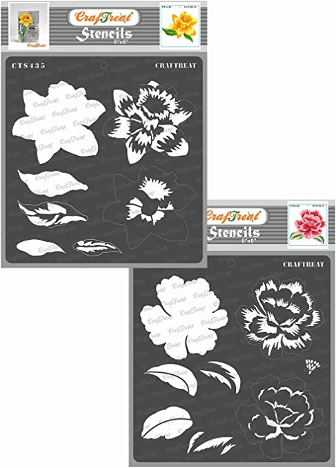 Floor Canvas Magnolia and Tiger Lily 6x6 Inches Each CrafTreat Layered Magnolia Flower Stencils for Painting on Wood Paper Fabric Wall and Tile 2 Pcs Reusable DIY Art and Craft Stencils