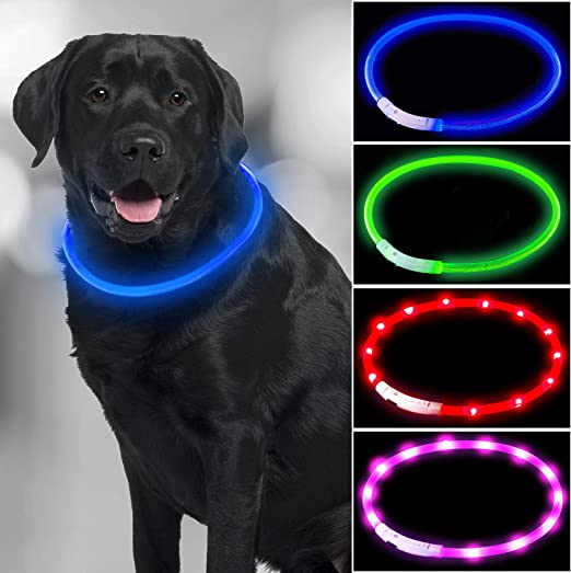 4 Pieces LED Dog Collar USB Rechargeable Lighted Dog Collar Water Resistant Light Up Collar Cuttable LED Pet Collar Pet Safety Collar Necklace Loop for Small, Medium, Large Dogs