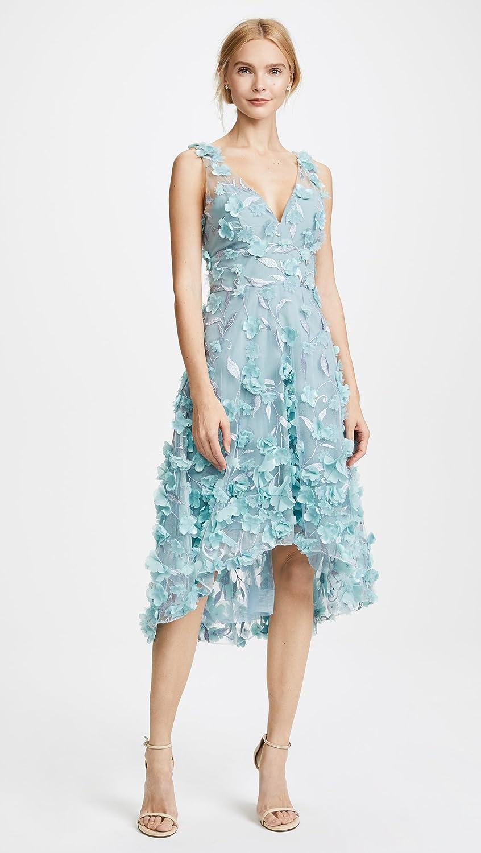 Marchesa Notte Women\'s High Low Cocktail Dress, Light Blue, 0 at ...