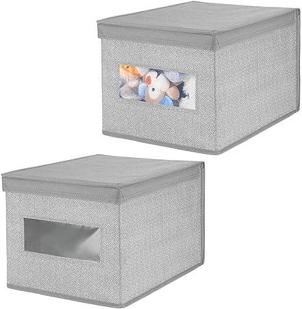 mDesign Juego de 2 Cajas organizadoras de Tela – Caja de almacenaje apilable para Guardar Ropa y Zapatos o para ordenar armarios – Organizador de armarios con Tapa y ventanilla – Gris: Amazon.es: Hogar