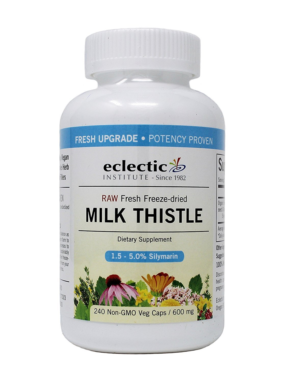 Eclectic Institute, Milk Thistle, 600 mg, 2 Packs 240 Non-GMO Veg Caps Essential Oils and Polysaccharides