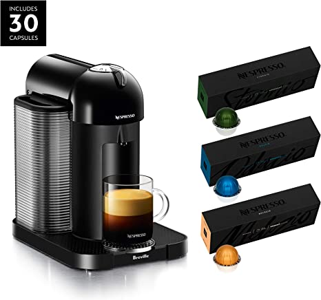 Nespresso Vertuo Coffee and Espresso Maker by Breville with Aeroccino, Matte Black and BEST SELLING VERTUOLINE COFFEES INCLUDED