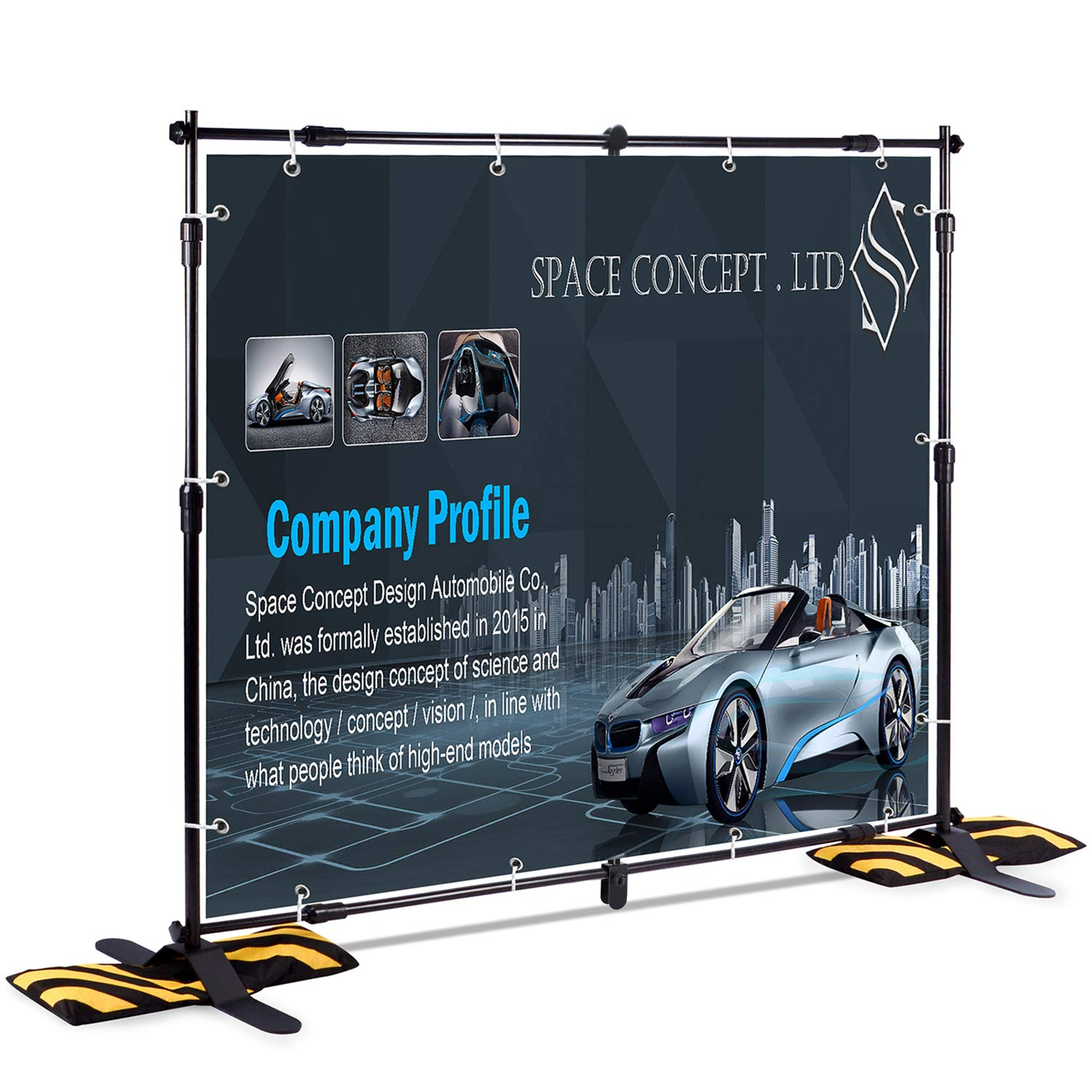 T-Sign 8'x8' Professional Backdrop Banner Stand Large Tube Heavy Duty Telescopic Step and Repeat for Photo Booth Background and Trade Show with Carrying Case and Sand Bags for Free