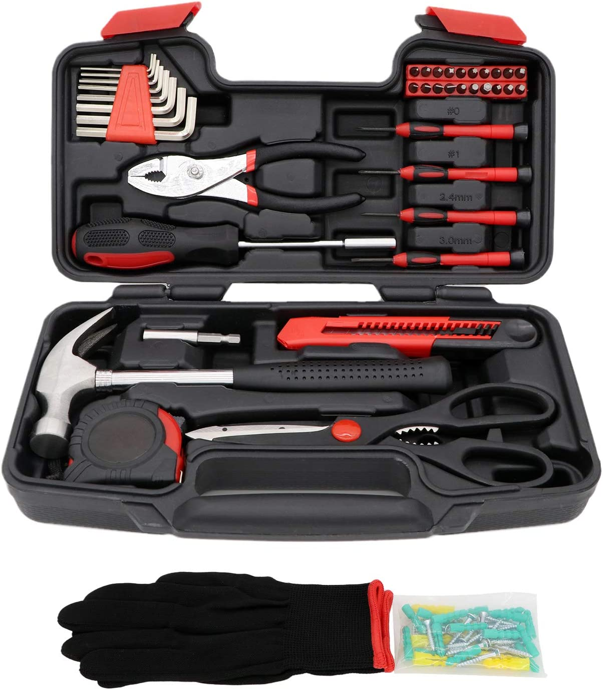 GETUHAND 40-Piece General Home Tool Kit, Basic Household Repair Tool Set with Tool Box Storage Case - Great Gift for Beginners, College Students, Household Use & More