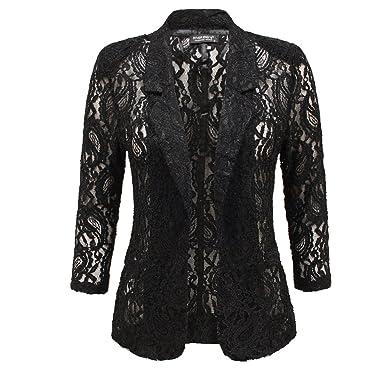 0bb93d463f6e4 ENVY BOUTIQUE WOMENS LADIES OPEN FRONT PADDED LACE BLAZER SUMMER SMART  SUITS COAT JACKET TOP CREAM 14: Amazon.co.uk: Clothing