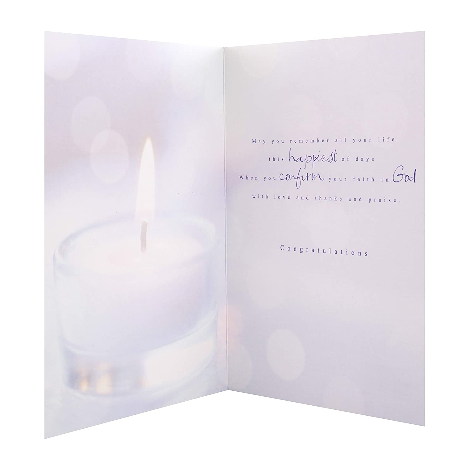 Confirmation Card from Hallmark Contemporary Photographic Design with Silver Foil Lettering /& Details