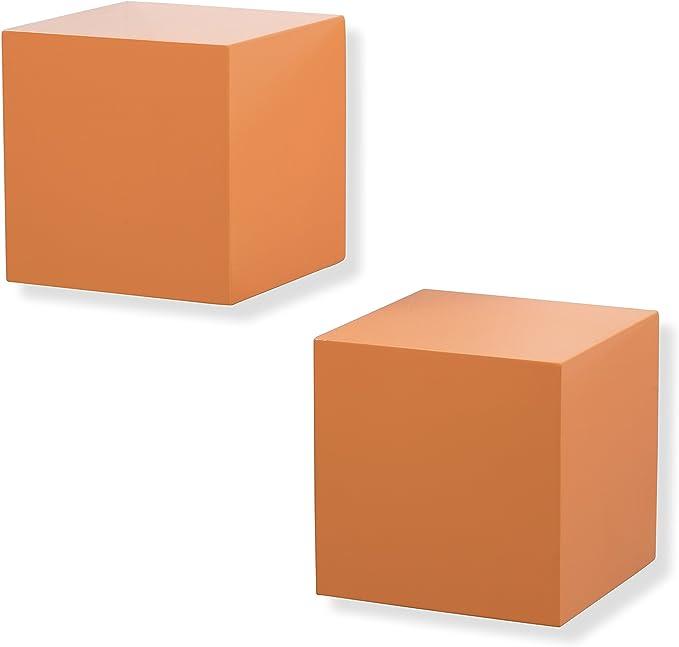 Vislone 3 Cubos Estanter/ías Flotante Estanter/ía de Pared o Apilar en Suelo Almacenamiento Librer/ías de Sal/ón Decoraci/ón del Hogar DM Blanco y Rosa