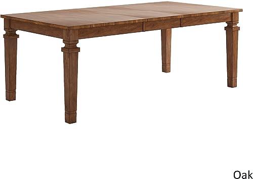 Inspire Q Elena Solid Wood Extendable Rectangular Dining Table by Classic Oak Oak Finish, Wood Finish