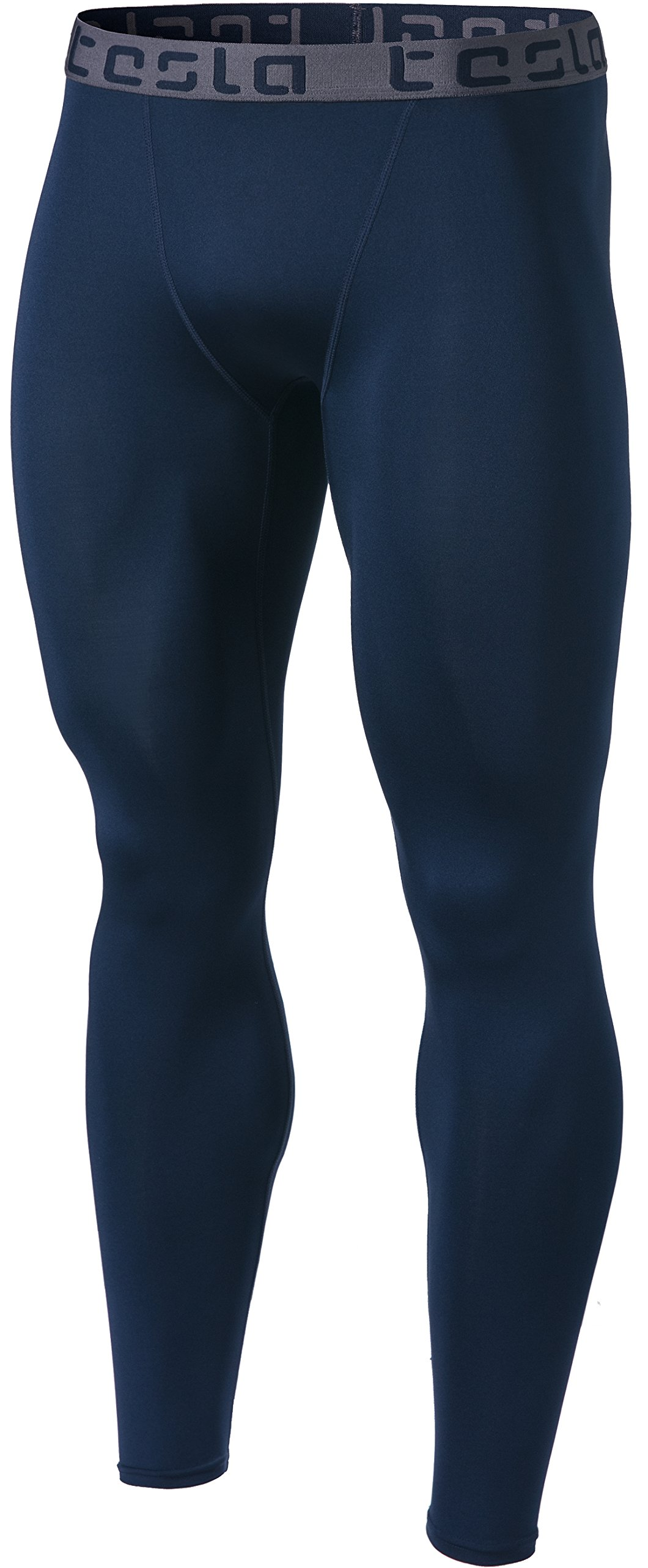 TSLA Men's Compression Pants Running Baselayer Cool Dry Sports Tights, Basic(mup09) - Navy, 2X-Large by TSLA