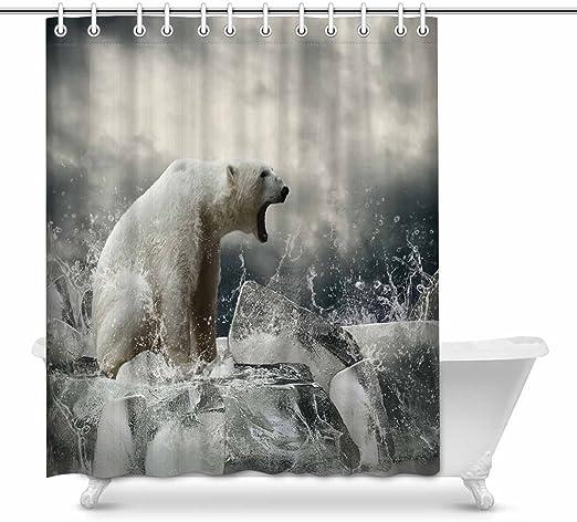 "60x72/"" White Polar Bear Bath Polyester Waterproof Fabric Shower Curtain w// Hook"