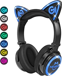 MindKoo Bluetooth Headphones Wireless Over Ear Cat Ear Headphones with LED Light Foldable Built-in Microphone and Volume Control for Cell Phones/iPhone/iPad/Laptop/PC/TV Kids Boys Girls Friends
