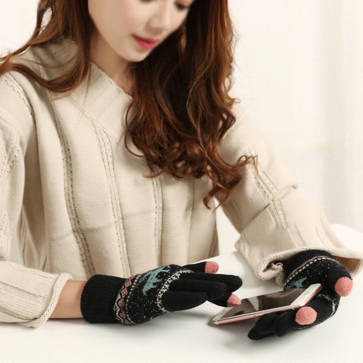 Rebecca Women Christmas Deer Pattern Knitted Gloves Winter Warm Mittens Thickened Soft Full Finger Gloves