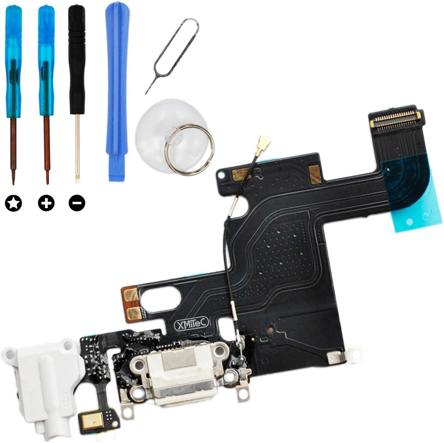 XMITEC Conector dock para iPhone 6 – Conector de carga USB, cable de audio Jack Flex, color blanco