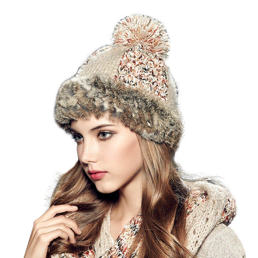 e8d6c2b8a5d Kenmont Winter Women Lady Rabbit Fur Hand Knit Beanie Cap Ski Hat (Beige)  at Amazon Women s Clothing store