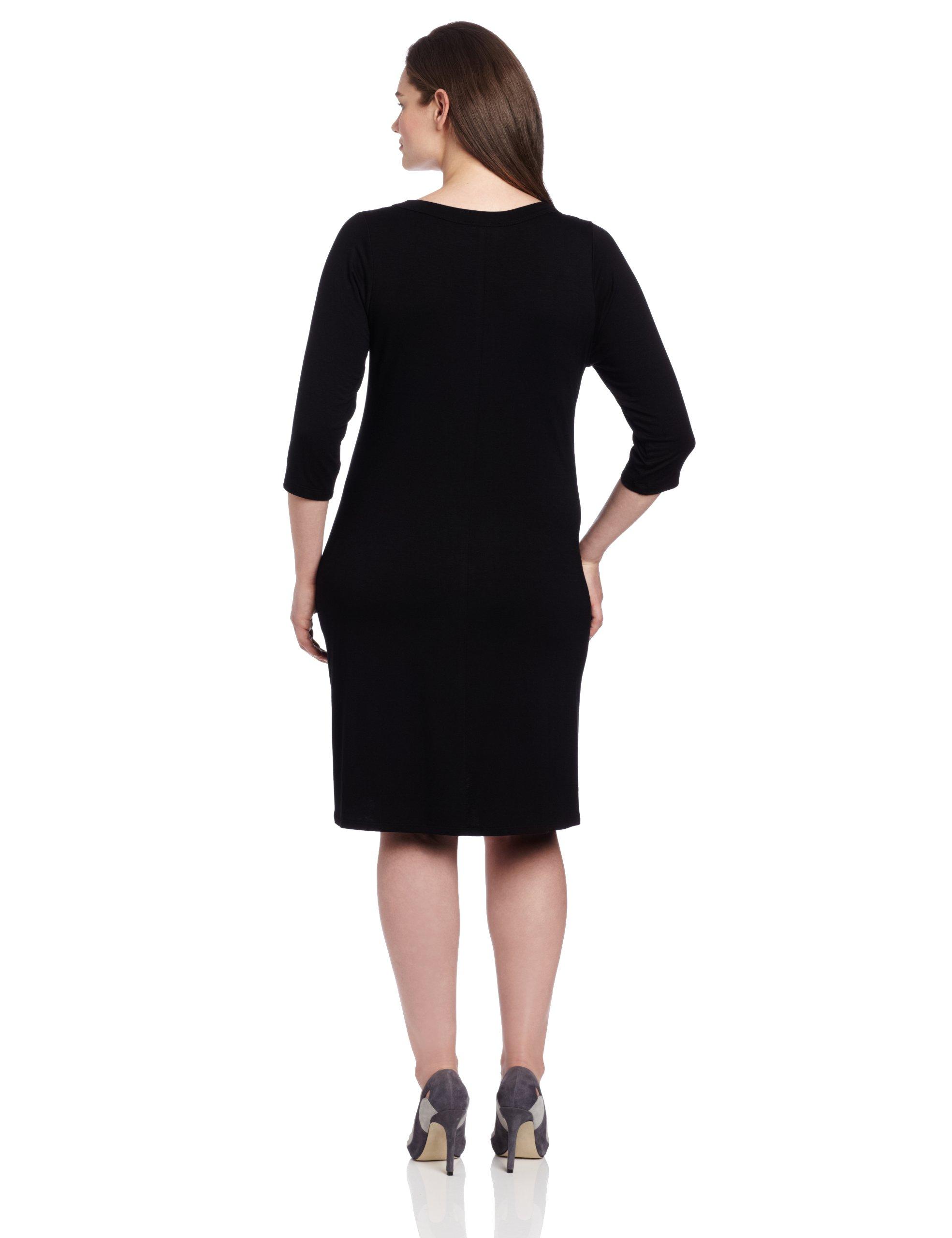 Karen Kane Plus-Size 3/4 Sleeve A-Line Dress, Black, 1X by Karen Kane (Image #2)