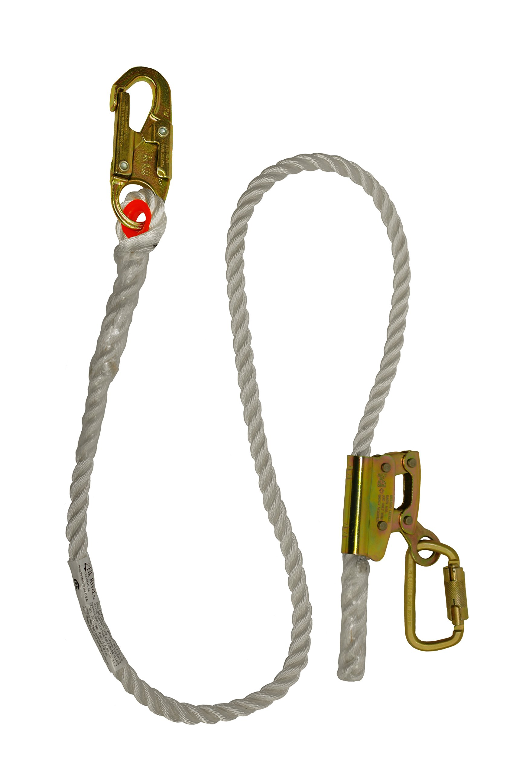 Elk River 34406 Quick-Adjustable Nylon Rope Positioning Lanyard with Carabiner and Zsnaphook, 3600 lbs Gate, 5/8'' Diameter x 6' Length