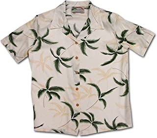 product image for Paradise Found Women's Palm Tree Leaf Aloha Shirt, Cream, XS