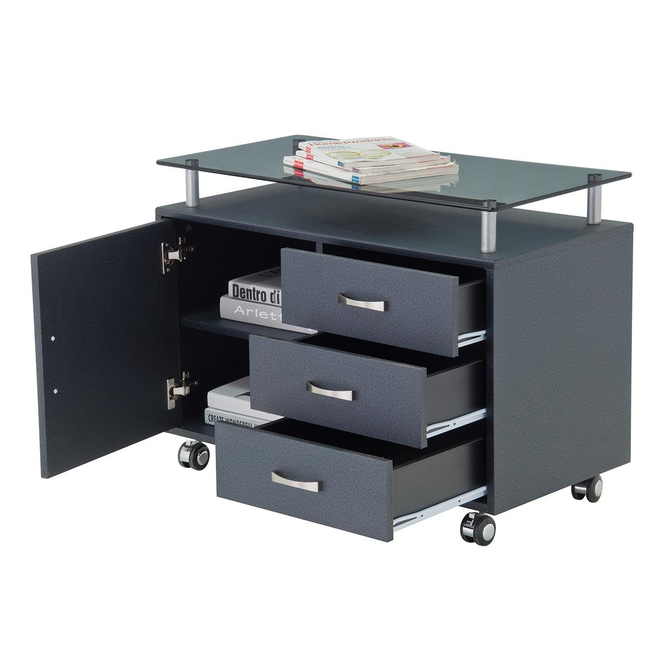 Rolling Storage Cabinet With Frosted Glass Top. Color: Graphite by Techni Mobili (Image #4)