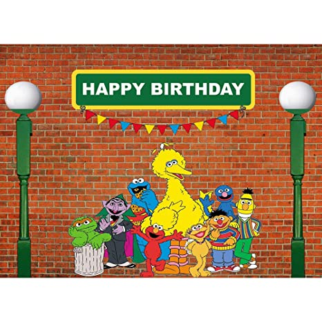 Menggege Brick Wall Photography Backdrops Sesame Street First 1st Second 2nd Third 3rd Boy Girl Birthday