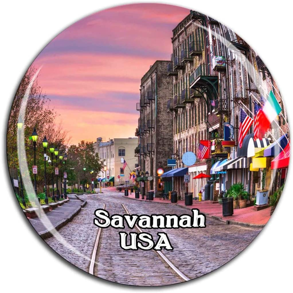 Savannah Historic District Savannah America USA Fridge Magnet 3D Crystal Glass Tourist City Travel Souvenir Collection Gift Strong Refrigerator Sticker