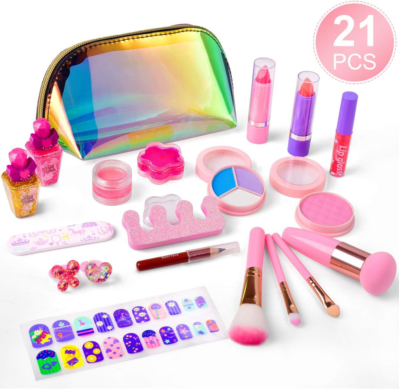 balnore Set de Maquillaje para niña de 21 Piezas Set de Maquillaje cosmético Lavable para niñas Maquillaje de Juguete para niñas Maquillaje niñas 3 años