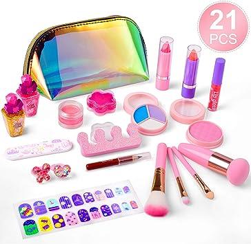 balnore Set de Maquillaje para niña de 21 Piezas de Maquillaje cosmético Lavable para niñas Maquillaje de Juguete para niñas Maquillaje niñas 3 años: Amazon.es: Juguetes y juegos
