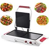 EverKing Electric Griddle, Adjustable Temperature Searing Grill Griddle Combo,Indoor   2-in-1 Grill Griddle, Extra Wide Hibachi Table Style Grill, Flat and Ribbed Surface 1600W