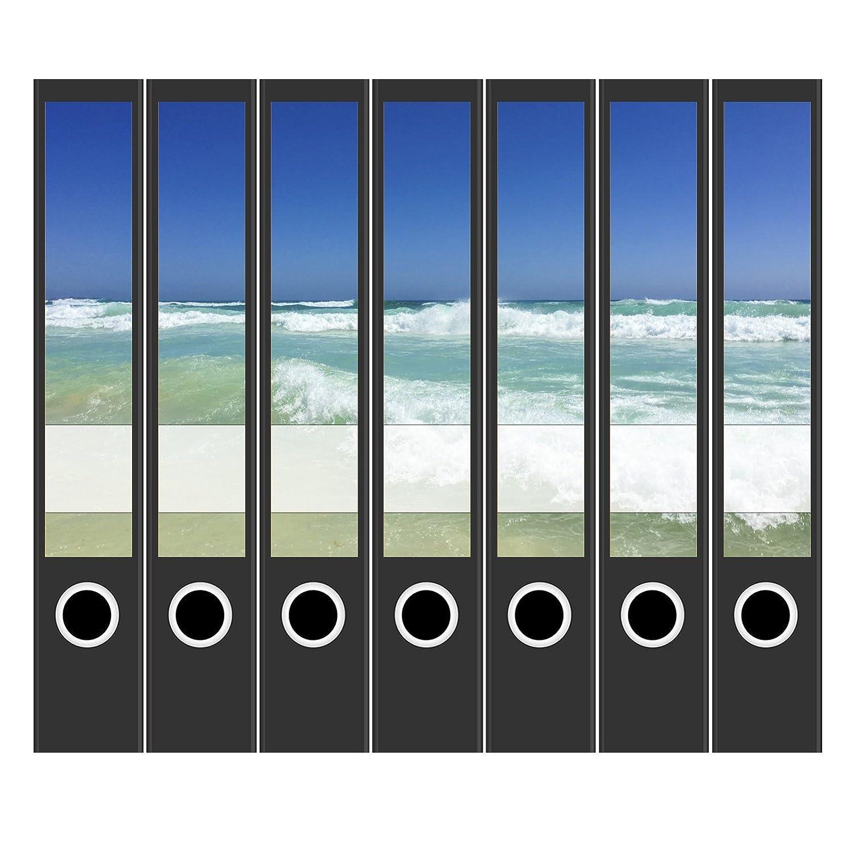 7 x Akten-Ordner Etiketten//Design Aufkleber//R/ücken Sticker//T/ürkises Meer//f/ür schmale Ordner//selbstklebend 3,7 cm breit