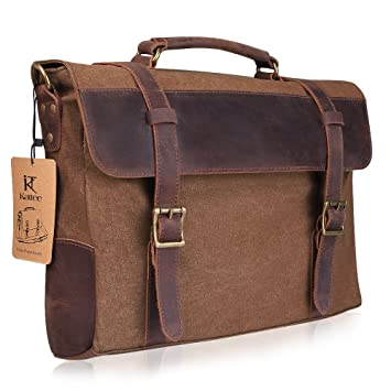 Kattee Canvas Leather Briefcase 15 Inch Laptop Messenger Satchel ...