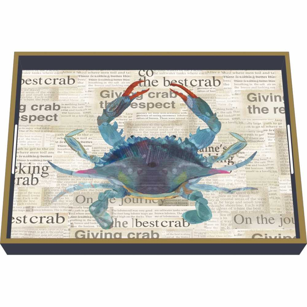 Paperproducts Design Wooden Serving Tray Displaying Best Blue Crab Design 16 x 12 Blue