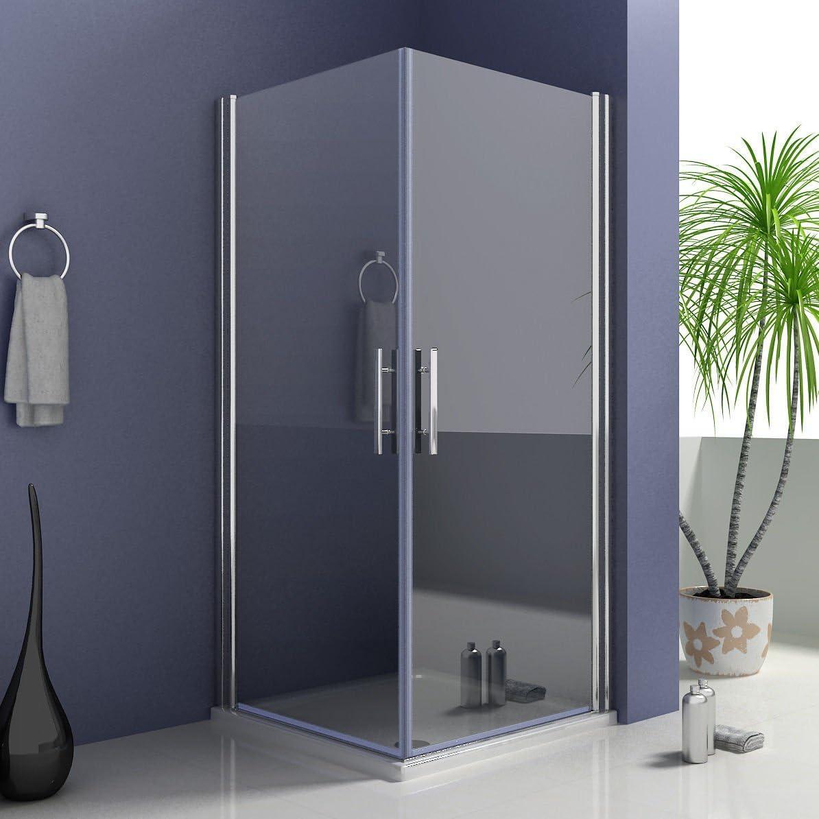 76 x 76 cm mampara de ducha cabina de ducha puertas de acceso por la esquina con guardapolvo para puerta de ducha: Amazon.es: Hogar