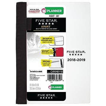 Five Star - Planificador académico semanal y mensual, August 2018, julio de 2019,