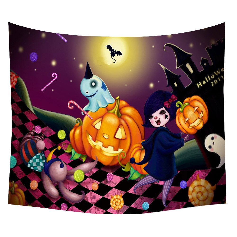Weiliru Tapestry Moon and Pumpkin Tapestry Wall Tapestry Constellations Tapestry for Halloween Travel and Picnic Indian Wall Decor