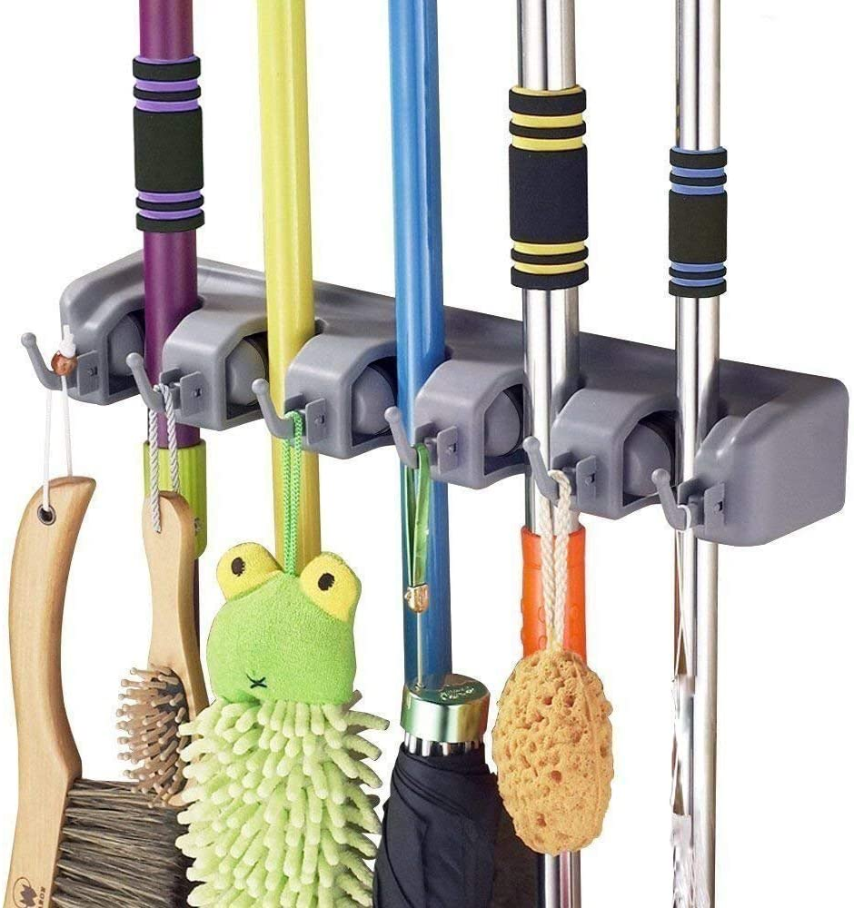 Wall Mounted Organizer-Mop and Broom Storage Tool Rack with 5 Position and 6 Hooks Storage Hooks for Kitchen Offices Laundry Black Imillet Mop and Broom Holder One Pack Garage and Garden