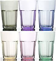 Rainbow Illusion Tinted Glass Tumbler 6-Piece Set, 11.75 Ounce - Pastel Edition