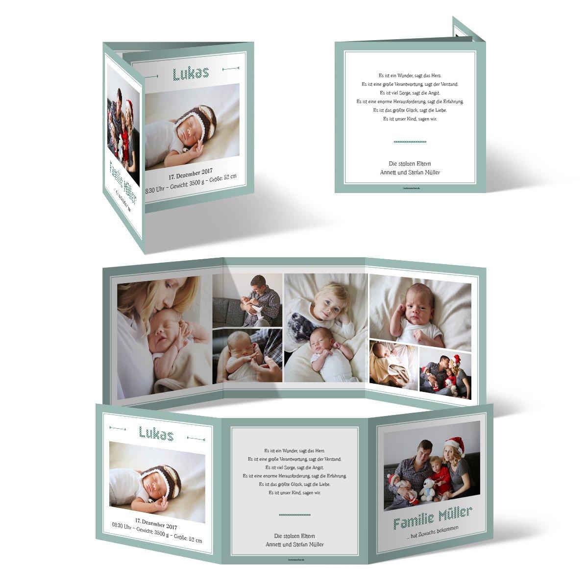Geburtskarten 40 stück bildreich im wickelfalz geburt babykarten foto karten amazon de bürobedarf schreibwaren