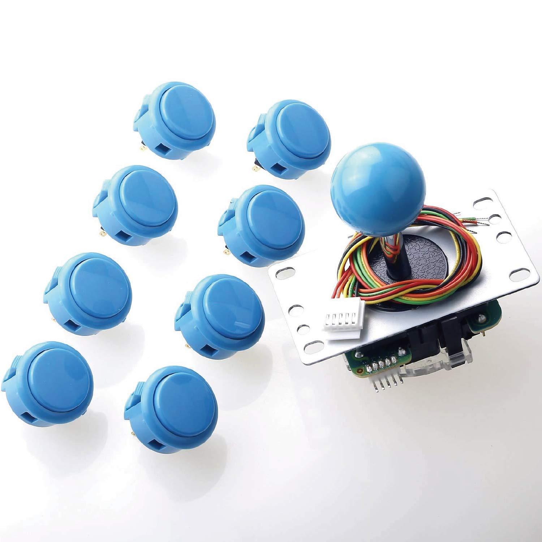 Sanwa JLF-TP-8YT Joystick + Sanwa 8 pcs OBSF-30 Push Button Bundle Kit Color : Light Blue - for Arcade Game 4 & 8 Way Adjustable, Video Game Joystick