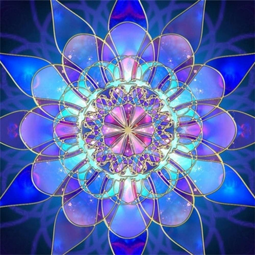 5D Pintura por Diamantes flor azul geométrica (TKJG)