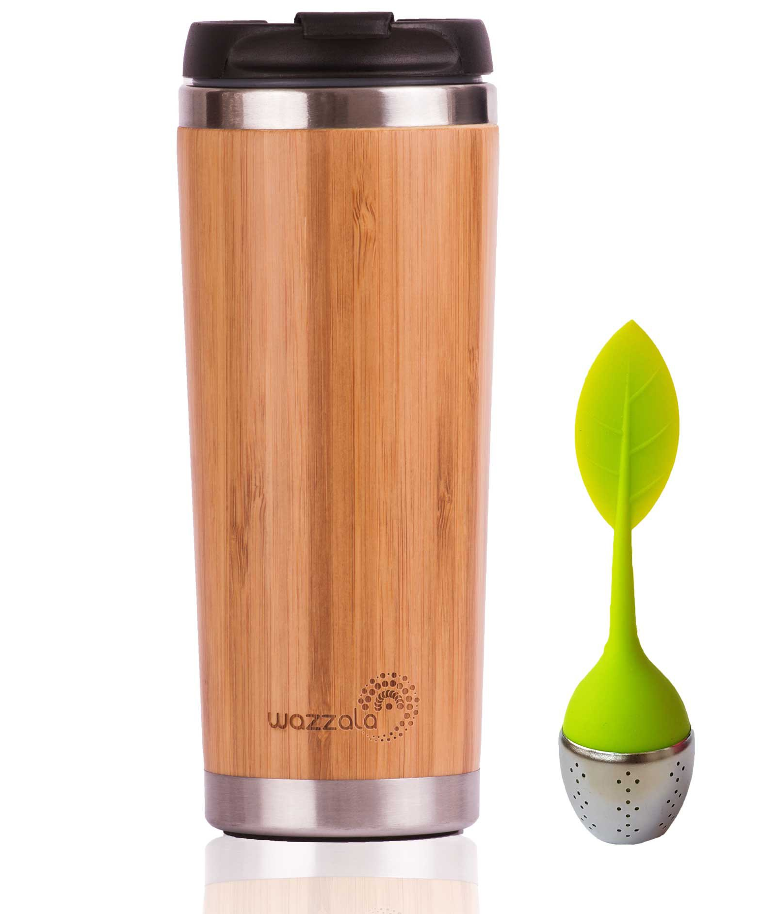 Elegant Reusable Bamboo Eco Travel Mug (Cup) for Coffee or Tea | Splash-Proof, Easy to Clean Lid | Silicone Tea Infuser Included (14 Oz) by Wazzala