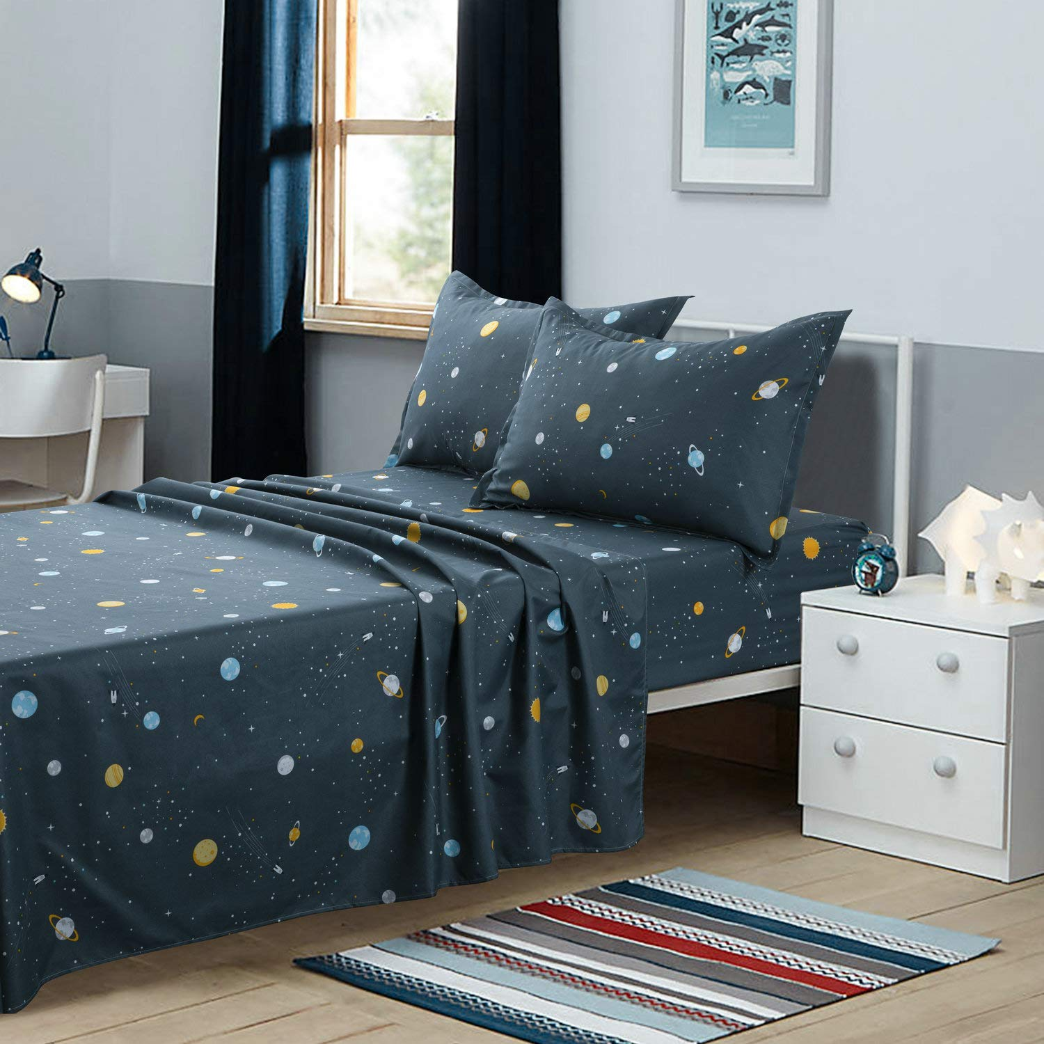 TOTORO Galaxy Bedding Twin Size, 4 Piece Bed Sheets Set with 1 Fitted Sheet 1 Flat Sheet 2 Pillowcases, Soft Easy Fit Deep Pocket Sheet for Boys and Girls